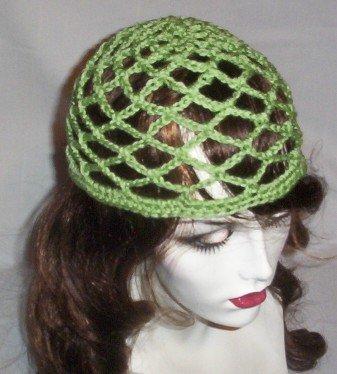 Hand Crochet Summer Mesh Juliet Cap - Lime