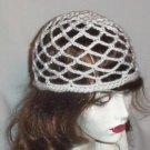 Hand Crochet Summer Mesh Juliet Cap - Wedding White