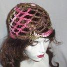 Hand Crochet Summer Mesh Juliet Cap - Pink Camoflauge