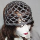 Hand Crochet Summer Mesh Juliet Cap - Grey
