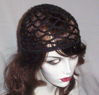 Hand Crochet Summer Mesh Juliet Cap - Black