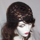 Hand Crochet Summer Mesh Juliet Cap - Black
