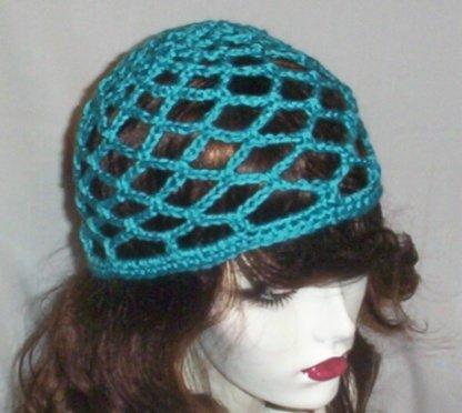 Hand Crochet Summer Mesh Juliet Cap - Turquoise