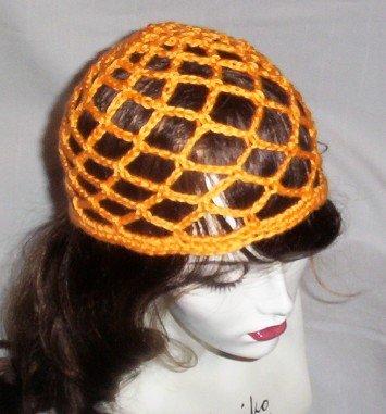 Hand Crochet Summer Mesh Juliet Cap - Mango