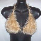Hand Knit Bikini Top Halter Sexy Med/Lrg Champange Fur Yarn