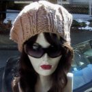 Hand Knit Slouchy Ribbed Beret ~ Camel