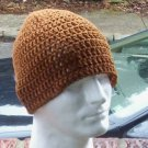 Hand Crochet Mens Cotton Skull Beanie in Clove