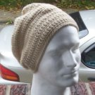Hand Crochet Men's Slouchy Beanie - Tan - Made 2 Order