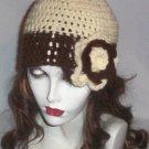 Hand Crochet Ladies Skull Cap Flowered Beanie Hat Zac Brown Band - 8 inch