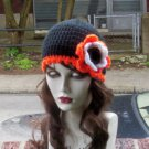 Hand Crochet ~  Ladies Flower Beanie - Philly Flyers