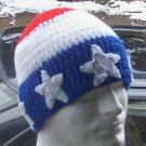 Hand Crochet ~ Men's Skull Cap Beanie Hat Patrotic - USA - Stars