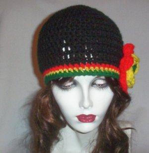 Hand Crochet Black Flowered Rasta Cloche Ladies Beanie