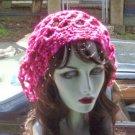 Hand Crochet Summer Mesh Slouchy Juliet Cap - Rasberry