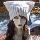 Hand Knit Cat Ears Hat Meow - Sassy White Catitude