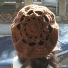 Hand Crochet Oversized Beret Rasta Snood Tam - Brown