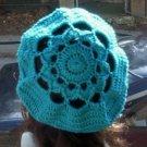 Hand Crochet Oversized Beret Rasta Snood Tam - Turquoise