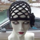 Hand Crochet Black Juliet Cap with Black Flower