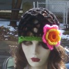 Hand Crochet Black Juliet Cap with Multi Colored Flower - Made 2 Order