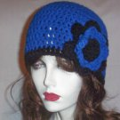 Hand Crochet Royal Blue and Black Flowered Cloche Ladies Beanie - Ready to Ship