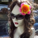 Hand Crochet Neon Pink - Yellow and Orange Flower Hair Barrette