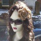 Hand Crochet Lace Flower Hair Barrette - Bling