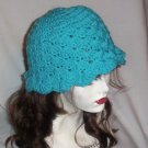 Hand Crochet - Ladies Turquoise Mermaid Beach Hat
