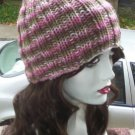 Hand Knit - Ribbed Ladies Skull Cap Beanie Hat - Pink Camoflauge