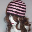 Hand Crochet ~ Sweet Beanies ~ Goth Pink/ Black Skater