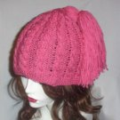 Hand Knit Cabled Rasberry Hat with Fun Tassle added - Ready 2 Ship