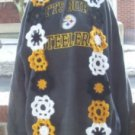 Hand Crochet - Steeler Ladies Flowered Scarf 4 X 74 Inches long