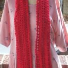 Hand Crochet Red Shell Scarf 4 X 60 Inches Scarves