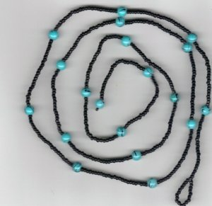 Hand Crafted Beaded Black and Turquoise