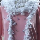 Hand Crochet Scarf Necklace PomPom Necklette - White
