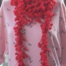 Hand Crochet Scarf Necklace PomPom Necklette - Red