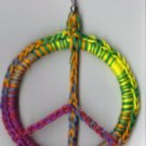 Hand Crochet Multi Colored Peace Sign Earrings Cotton - Ready 2 Ship