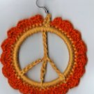 Hand Crochet Flowered Peace Sign Earrings Cotton - Ready 2 Ship