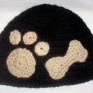 Hand Crochet Black Male Beanie with Tan Bone/Paw Print - Ready 2 Ship