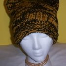 Hand Knit Cat Ears Hat Meooow - Black n Gold Steelers Kitty Kat Square Beanie