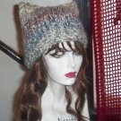 Hand Knit Kitty Cat Ears Hat 3 - Your Choice Homespun Chemo Square Beanie
