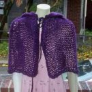 Hand Knit Purple Hooded Mini Caplet Cloak Cape