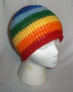 Hand Crochet ~ Ladies Skull Cap Beanie Hat Rainbow Chakra