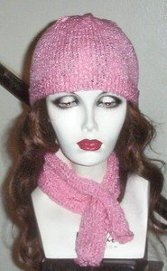Hand Knit Ladies Pink Chemo Beanie and Keyhole Scarf Set Gift