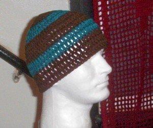 Hand Crochet Men's Skull Cap Beanie Hat Zac Brown Band - 8 inch - Teal Brown