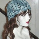 Hand Crochet ~ Ladies Skull Cap Blues Flower Petal Beanie Chemo Summer
