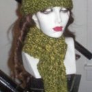 Hand Knit Kitty Kat Hat and Matching Scarf - Ready to ship green gold St Pattys