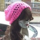 Hand Crochet Summer Slouchy Hat - Hot Pink