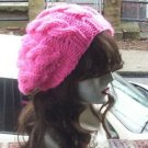 Hand Knit Oversized Slouchy Cabled Hot Pink Beret Rasta Snood - Ready to Ship