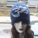 Hand Knit Beaded Picture Ladies Beanie OM Navy hat White Beads Reiki Healing
