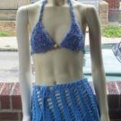 Hand Knit Bikini Top Halter Med/Lrg Blue Furry Yarn Wedding Beach Vacation