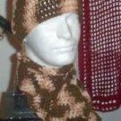Hand Crochet ~ Skull Cap Beanie and Matching Scarf Desert Sand Camoflauge